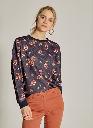 NGSTYLE Desenli Oversize Sweatshirt Lacivert